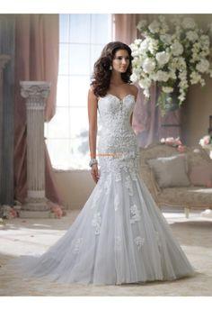 Robe de mariée 2014 tulle application col en coeur avec traine