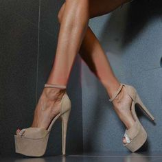 Shoespie Soft Suede Open Toe Ankle Wrap Sky High Platform Heels