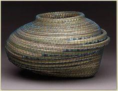 Deborah Muhl  | Untitled #1161.  Maine sweet grass, gourd, organdy ribbon, artificial sinew, picasso stone beads. 2002.      http://www.deboramuhl.com/