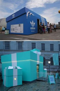 Clever marketing - oversized Tiffany and ADIDAS boxes are used as a pop up shop