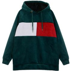 Colour Block Velvet Hoodie ($37) ❤ liked on Polyvore featuring tops, hoodies, color-block hoodie, slouchy hoodie, blue top, hoodie top and blue velvet top