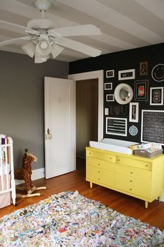 Nursery ideas- chalkboard wall is so fun for a nursery, bright yellow dresser, dark walls. I'm in love with this room! Far in the future. Project Nursery, Nursery Decor, Room Decor, Nursery Ideas, Whimsical Nursery, Room Ideas, Wall Decor, Striped Ceiling, Yellow Dresser