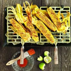 This is such a delicious way to prepare corn on the cob - grilled, with lime, chili powder and pepper.