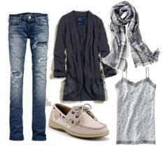 Just because it's fall doesn't mean you can't still wear your summer staple—Sperry's. A draped cardigan and relaxed denim look put-together when combined with separates in coordinating patterns, like this floral tank and plaid scarf. Add more personality with matching jewelry. (And don't forget your Sperry's!)
