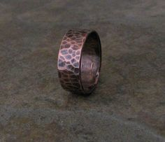 Mens Copper Ring Hammered Wedding Band Wedding Ring by SilverSmack, $45.00