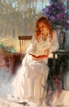 Richard S Johnson. A Favorite Book - 36 x 24 Original Oil on Canvas (626×960) http://www.sargentsfineart.com/artist/johnson.php Born in Chicago to an artistic family, his earliest reminiscences are of pouring through Charles Dana Gibson, NC Wyeth, and John Singer