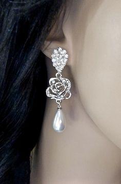 Bridal jewelry  Beautiful Rose Rhinestone by QueenMeJewelryLLC, $44.99