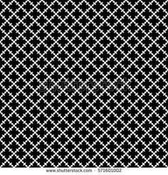 Vector seamless pattern. Abstract black & white texture with curved geometric shapes, barbed figures. Repeat tiles. Endless dark ornamental background, gothic style. Design for decor, prints, textile