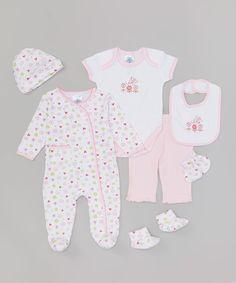 Look at this #zulilyfind! SpaSilk Pink Heart Seven-Piece Layette Set by SpaSilk #zulilyfinds