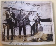 """This picture of the King Kasuals at Christmas 1962 shows """"Jimmy"""" with Billy Cox and bandmates just before he headed to Canada to join Bobby Taylor and the Vancouvers. He plays an Epiphone."""
