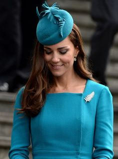 13th April, 2014: Prince William and Catherine, Duchess of Cambridge attend a church service at the Cathedral Church of St Paul, the Octagon during their tour of Australia and New Zealand. Kate Middleton paid tribute to New Zealand by wearing a sterling fern brooch.