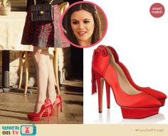 Zoe's red tassel heels on Hart of Dixie.  Outfit Details: http://wornontv.net/30441/ #HartofDixie