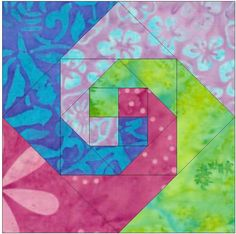 Snail Trail Chain 12 Inch Paper Template Quilting Block Pattern PDF by HumburgCreations on Etsy