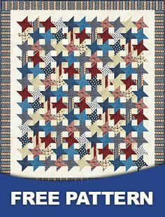 Quilt Kit TOP: Stars of Valor w/ Stonehenge Strips +Free Pattern