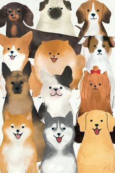 Friendly dog watercolor painting collection | premium image by rawpixel.com / nunny Cute Dog Wallpaper, Drawing Wallpaper, Cartoon Wallpaper, Dog Illustration, Watercolor Illustration, Watercolor Paintings, Cute Dog Drawing, Cartoon Dog Drawing, Corgi Cartoon