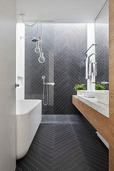 100 Beautiful Bathrooms to Help You Achieve Spa Status : Modern Bathroom Slate Herringbone Tile Bathroom Renos, Laundry In Bathroom, Bathroom Towels, Bathroom Renovations, Bathroom Wall, Bathroom Grey, Bathroom Makeovers, Chevron Bathroom, Remodel Bathroom