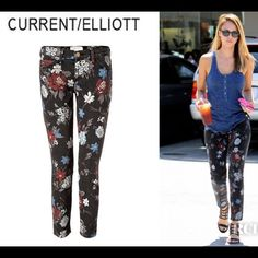 """Current/Elliot Skinny Stiletto The Wildflower Jean As seen on Jessica Alba.  The adorable floral current / Elliot jeans are beyond amazing! """"Measurements will be updated shortly!   MEASUREMENTS Waist:  Hips:  Rise: Inseam:  Leg Opening:  ••  As always I follow all Postmark rules & No trades. Please make all offers through the offer button - lots of love girls!! Current/Elliott Jeans Skinny"""