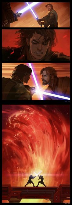 Obi-Wan Kenobi VS Anakin Skywalker - My favorite SW-battle ever! Star Wars Fan Art, Star Wars Comics, Starwars, Sith, Anakin Vs Obi Wan, Poster Anime, Star Wars Painting, Mundo Dos Games, Star Wars Personajes