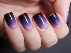 Nails Yellow, Purple Ombre Nails, Gradient Nails, Dark Nails, Violet Nails, Blue Ombre, Nail Art Designs, Nail Designs Pictures, Ombre Nail Designs