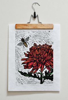 Flower and Bee linocut / The colors were painted in with watercolor after the print was done in black. Much easier than trying to get the block to print with colors. Stamp Printing, Screen Printing, Linocut Prints, Art Prints, Block Prints, Lino Art, Linoleum Block Printing, Illustrator, Linoprint