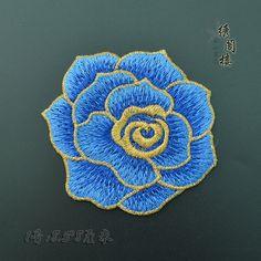 Parche de decoración de embroidred floral azul moda vintage