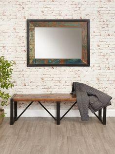 Urban Chic Reclaimed Wood Mirror Large Hangs Landscape Or Portrait Baumhaus E Shape 4