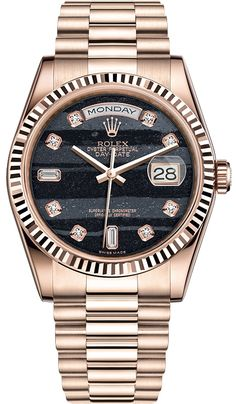 Rolex Oyster Day-Date 36 mm Everose Gold Diamond Ferrite Dial President Bracelet Midsize Watch Reference Army Watches, Rolex Watches For Men, Luxury Watches, Leather Watches, Wrist Watches, Amazing Watches, Beautiful Watches, Cool Watches, Rolex Presidential