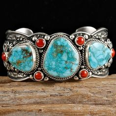 Turquoise and coral bracelet in sterling silver by Darryl  Becenti, Navajo. Crow Springs turquoise