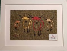 Traditional Highland Coo Herd on Harris Tweed (Moss Mix). Designed and Embroidered by The Hebridean Design Company on The Isle of Harris. Other tweeds available on request. Email - info@thehebrideandesigncompany.com