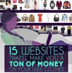 HOMEBASED INCOME IDEAS >> SELL YOUR USED CLOTHES - 15 Websites That'll Make You Money On Your Used Clothes #HOMEBASED #SIDEINCOME