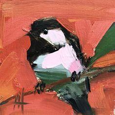 Chickadee no. 931 Original Oil Painting by Angela Moulton