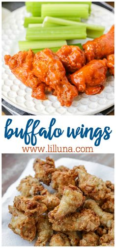 Crispy tender chicken wings tossed in the most wonderful buffalo sauce! The best party appetizer for a crowd or party! #buffalowings #wings #buffalowingrecipe #buffalo #chickenwings