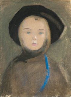 Helene SchjerfbeckGirl with blue ribbon. 1909watercolour,gouache and pastel on paper
