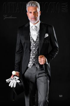 Long tail black suit and striped pants #groom #wedding #tuxedo #luxury #menswear #madeinitaly