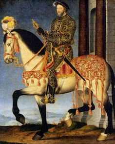 François I of France on Horseback  --  Circa 1540  --  by Francois Clouet  --  French  --  Uffizi Gallery  --  Florence, Italy