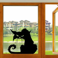 Halloween Scary Black Cat Glass Sticker Halloween Decor - Newchic Mobile.