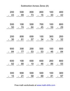 Subtraction Worksheet -- Subtraction Across Zeros -- 36 Questions (A)