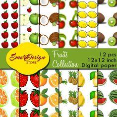 Fruits digital papers, Summer digital paper, Pineapple Lemon Kiwi Watermelon patterns, Tropical fruits designer paper, Scrapbook papers kit by SmartDesignStore on Etsy