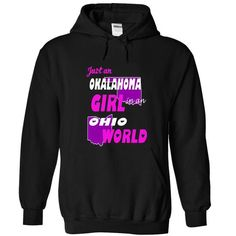 Oklahoma Girl in Ohio World - #oversized tshirt #sweater coat. OBTAIN => https://www.sunfrog.com/States/Oklahoma-Girl-in-Ohio-World-Black-Hoodie.html?68278