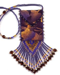 Finished, Beaded Gold Maple Leaf Amulet Bag by Dragon (Also available in pattern & kit).