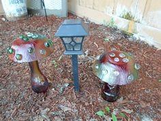 diy yard art    Go Tie Dye Mushroom Garden Glass Yard Art Set Of Two   DIY