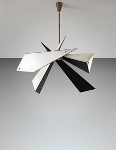 Angelo Lelii; Painted Metal, Brass and Opaque Glass Ceiling Light for Arredoluce, 1950s.