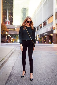 Fall Outfit, Holiday Outfit, Club Monaco Ruffle Sleeve Top, Black Skinny Jeans, Louboutin Black Pumps, Gucci Handbag