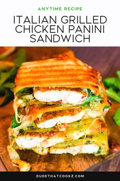 you want to take a quick field trip to small Italian sandwich shop put this Italian Grilled Chicken Panini Sandwich on your dinner table and thoroughly enjoy. Grill Sandwich, Gourmet Sandwiches, Panini Sandwiches, Wrap Sandwiches, Italian Sandwiches, Sandwich Shops, Vegetarian Sandwiches, Dinner Sandwiches, Chicken Panini
