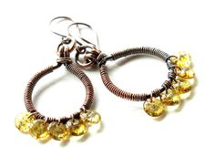 Copper hoop earrings - wire wrapped yellow amber czech glass lentil beads