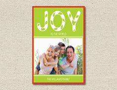 """Photo Holiday Card Christmas Card - """"Joy to the World"""" - Vivian Elle on Etsy http://www.etsy.com/shop/VivianElle"""