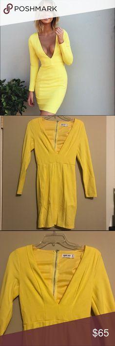 YELLOW TIGERMIST V CUT DRESS Worn once. No damages. TIGERMIST. Size small. NO TRADES. Tigermist Dresses Mini