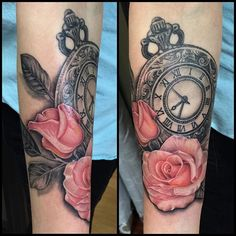 Right hip/thigh piece, two roses on the bottom, one rose on top with butterfly