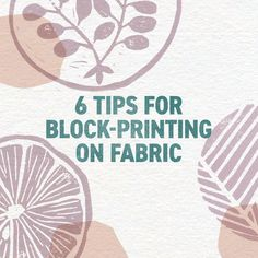 Join artist and author Jen Hewett and learn to block-print your own fabric designs. Learn to carve blocks, print them … Block Painting, Fabric Painting, Fabric Art, Floral Fabric, Painting Tips, Blue Fabric, Linen Fabric, Fabric Flowers, Fabric Crafts
