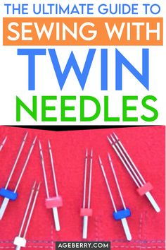 Twin needle sewing machine - everything you need to know about sewing with a twin needle Learn how to use a twin needle on a sewing machine, twin needle types, twin needle sewing problems, twin needle sizes, how to avoid tunneling Sewing Hems, Sewing Elastic, Sewing Clothes, Elastic Thread, Sewing Needles, Sewing Stitches, Sewing Patterns, Sewing Needle Sizes, Apron Patterns